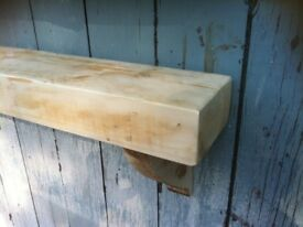 chunky Wooden Shelf Solid Wood Industrial Pine Shelves mantle natural Reclaimed Rustic