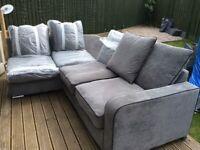 Large Charcoal Grey L shape corner Sofa with storage pouffe