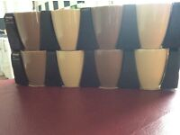 8 stoneware boxed unused mugs in latte and cream
