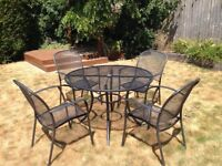 Kettler 4 seater round mesh garden table and chairs