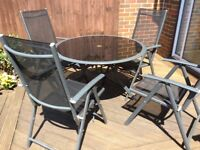 4 Seater Round Metal Garden Furniture Set