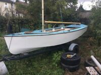 Grp gp14 sailing dinghy boat or ideal rowing / fishing boat