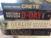 Four Anthony Beevor books, excellent condition. Crete. D Day. Berlin. Stalingrad.