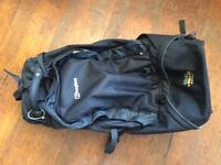 Berghaus large black rucksack with 2 wheels & cover