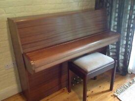 Upright Piano (Calisia) owned from new in satin finish mahogany. Stool also available.