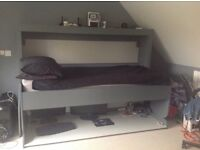Study bed , two the grey. Foldaway full size single bed with full length desk