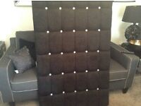 Ex display stunning black buttoned diamonte db headboard