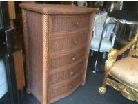 Reduced cane chest of drawers