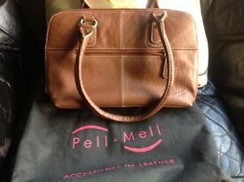 Nearly new brown leather handbag