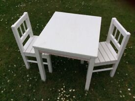 Kids wooden Ikea table and two chairs
