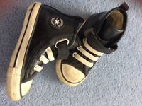 Kids converse black leather size 7 limited edition boots £10
