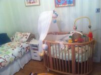 Stokke sleepi mini/sleepi cot and Stokke care changing table in beech wood. Disassembled.