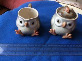 OWLS jug and cream pot