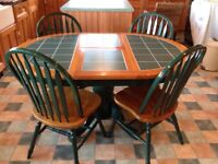 Solid cherry Wood Green tiled extending table & 4 chairs ,