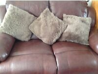 Leather 2 seater plus armchair reclining