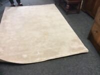 Large cream thick wool rug