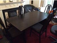 Black dining table and 4 chairs, can deliver