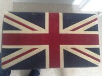 Leather Ottoman with Union Jack fabric top