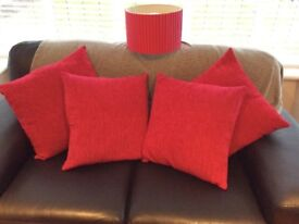 4 fuschia pink soft feel cushions and matching lampshade