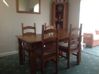 Pine dining table, 4 chairs sideboard and corner unit