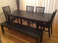 IKEA DINING TABLE with 2 Extension, 4 Chairs & Bench
