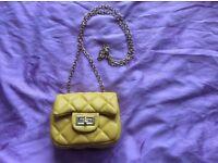 Mini yellow (or metallic champagne)leather crossbody children/adults bag