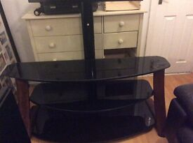 Costco walnut and black glass television stand