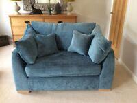 Teal Blue Chenille Snuggler Love Chair Armchair Sofa