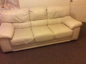 Large Leather Cream Settee for Sale