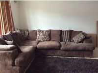 Brown fabric corner sofa bed