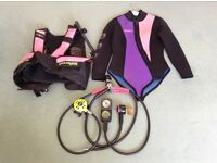 Ladies wet suit, BCD jacket and regulator