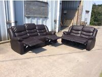 Brown Leather Recliner Sofa Set 3 & 2 Seat - Ex Display - £499 Including Free Local Delivery