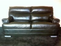Real Leather Sofa Bed - Black