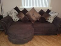 DFS 4 seater chaise sofa and large oval cuddler sofa