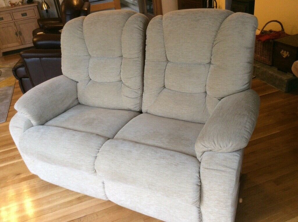 Layzee Boy Two Seat Fabric Manual Recliner Settee In