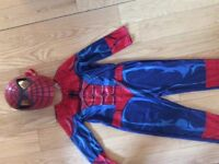 Spiderman lightup & talking mask and costume age 5-6
