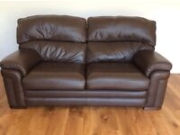 3 seater and 2 seater brown leather settee and footstool. Collection only