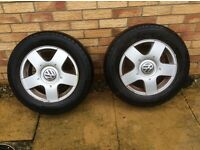 Vw golf mk 4 pair of wheels &tyres