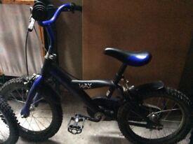 BMX style boys bike Matt black and blue 16 inch wheel