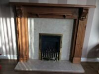 Bespoke solid ANTIQUE PINE fire surround and gas fire
