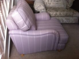 A PAIR OF DFS COUNTRY LIVING ARMCHAIRS LILAC PASTEL WITH STRIPE