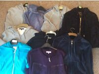 9 X Hooded Jackets with Zips, various colours. Sizes 10-12 Womans
