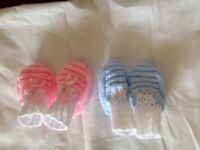 2pairs, Brand new hand knitted Baby bootees,