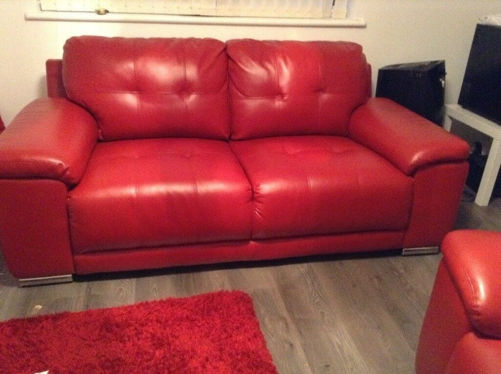 3+2 Seater Red Leather Suite
