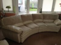 Leather/Fabric Curved Sofa & Chair