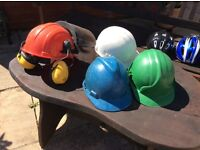 HARD HAT WITH VISOR AND EAR DEFENDERS PLUS 3 HARD HATS