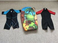 Children's bodyboard and wet suits for sale