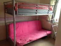 Metal Single High sleeper with double futon (pink)