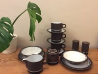 Vintage @ 1970s Hornsea Pottery with Contrast decoration. Elegant modernist pottery.