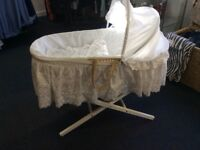 White cotton Moses basket exc condition.